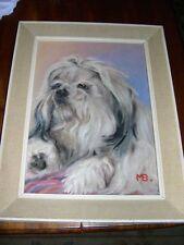 More details for rare shih tzu dog oil painting 1960 signed framed