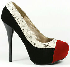 Black Red Velvet Snake Skin High Stiletto Heel Platform Pump 7.5 us Qupid