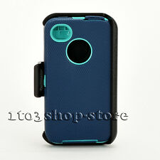 iPhone 4 4s Defender Hard Rugged Case w/Holster Belt Clip Navy Blue/Teal Green