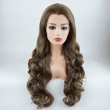 Wavy Long 26inch Ash Brown Blonde Mix Realistic Synthetic Lace Front Wig