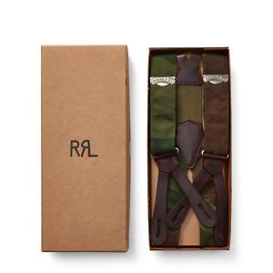 Ralph Lauren RRL Camo Stretch Cotton Leather Braces Suspenders New