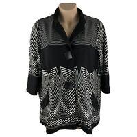 New Ali Miles Tunic Jacket Size XL Black White 3/4 Sleeve Pockets  Blazer