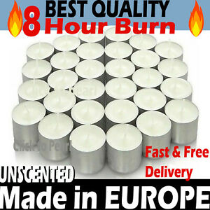 🔥Tea Light Candles White 🔥 8 Hour Burn Unscented - Long Burn Time - MADE IN EU