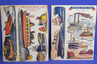"Quaker Puffed Rice Cereal Box Cut-Outs 1930's ""Travels With Time"" #1 & #2"