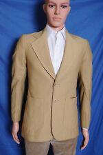 Vtg '70s men's polyester two button beige leisure jacket blazer sport coat 34