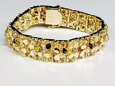 """14kt Solid Gold Mens Nugget Bracelet 16.5 mm  118 grams 9"""""""