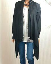 ! novedad! cavita de alta calidad negra Long chaqueta de punto * 50% lana merino * talla S/36