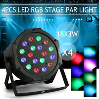 4 PCS 18x3W LED RGB Light Par Can KTV Disco Party Bar Effect Stage Lighting Lamp