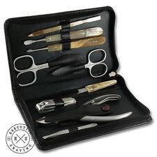 Hans Kniebes Luxury 9 Piece Real Horn Manicure Set in Dark Brown (84895)