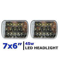 "7X6"" Black Chrome LED HID  Light Bulbs Clear Sealed Beam Headlight Lamp Pair"
