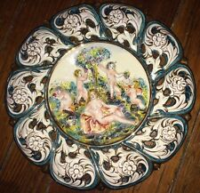 VINTAGE SIGNED NUMBERED CAPODIMONTE ITALY WALL PLATE CHARGER NUDE CHERUBS MAIDEN