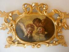 Holzgeschnitzte Kartusche 18. Jahrhundert mit gemalten Engeln in barockem Stil