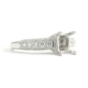 3-Sided Pave Diamond Engagement Ring Setting Mounting 18K White Gold, 5.09 Gr