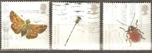 Great Britain: 3 used stamps, Insects - UK Species in Recovery 2008, Mi#2632-4-6