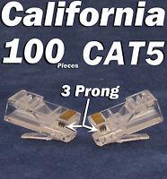 100 X Plug 3 Prong RJ45 Network CAT5 Cable Modular CAT5e 8P8C Connector Ethernet