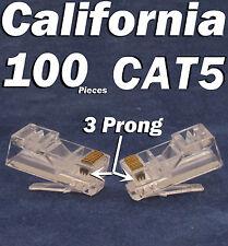 100 Pcs 3 Prong Teeth RJ45 8P8C Network Cable Modular Plug CAT5 CAT5E Connector