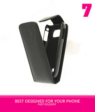 BLACK SOFT LEATHER FLIP CASE COVER FOR NOKIA C2-01 (C2 01) UK STOCK
