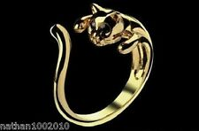Cute Gold Coloured Cat Shaped Ring With Rhinestone Eyes,  Size Adjustable!!