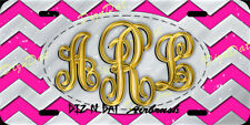 Custom Airbrush License Plate Chevron design Vanity Car Auto Tag