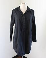 Soft Surroundings Solid Black Cotton Popover Tunic Shirt Blouse Size M