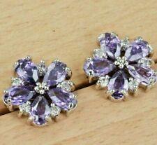 Amethyst Flower CZ Silver Stud Earrings