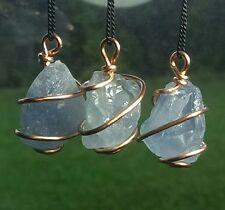 CELESTITE NECKLACE Spiraled in Copper! Top Ocean Blue Celestine Crystal Pendant