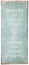 METALLSCHILD  IB LAURSEN GENIEßE DIE KLEINEN DINGE VINTAGE METALL13 x 30,5 cm