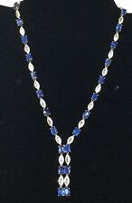 Natural Blue Sapphire And sterling Silver Necklace