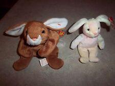 (2) Ty Original Beanie Baby Ears the Bunny & Hippie the Miniature Bunny 95 & 02