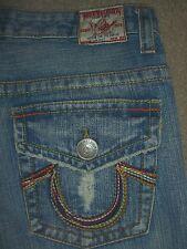 TRUE RELIGION Joey Big T Rainbow Flap Pkts Twisted Leg Jeans Womens Sz 30 x 32.5