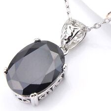 fashion Jewelry Gift Oval Black Onyx Gemstone Platinum Plated Necklace Pendants