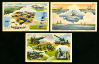 US WWII Lot of 3 Scarce Military Postcards