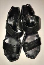ROBERT CLERGERIE Black Double Strap Platform Sandals sz 10