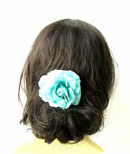 Turquoise Blue Camellia Flower Hair Comb Bridesmaid Floral Rockabilly Rose 1938