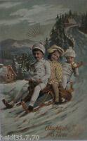 """ New Year, Children, Winter Landscape, Sled, Horn "" 1913, Gold Print (5281)"