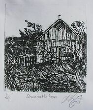 "LYNN KEATING AUSTRALIAN BLACK INK ETCHING ""DOWN ON THE FARM"" 2011"