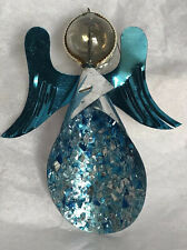 Vintage Blue Foil Angel Glass Ball Head Mica Western Germany Chirstmas Ornament