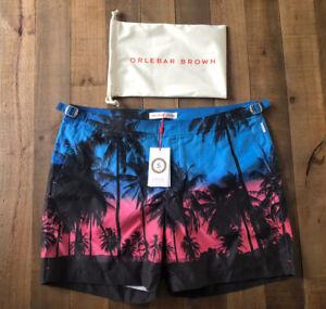 Orlebar Brown Bulldog Swim Shorts Photographic Palms Design Uk 36 New