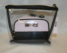 Victoria's Secret 2 Piece Cosmetic Make-up Bags - Clear + Pink & Black