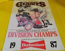 RARE, 1987 SAN FRANCISCO GIANTS, ANHEISER BUSCH POSTER, DIVISION CHAMPS, CARTOON