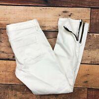 Banana Republic Skinny Ankle Zip Jeans Size 29 Womens Stretch Twill Ivory Cream