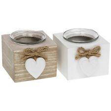 Provence CUORE SINGOLO T TEA LIGHT set porta lamette shabby chic in legno regalo Candela