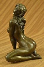 French bronze Art Deco sculpture nude Sitting  Erotica original Artwork Figurine