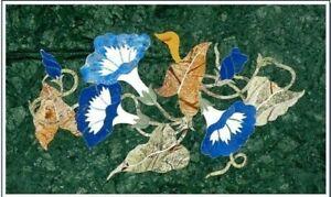 "36"" x 24"" Green Marble corner Table Handmade PietraDura Art Semi Precious Stones"