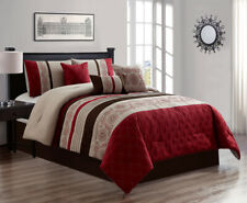 7 Piece Roxana Embroidery and Pleated Comforter Set Bed-In-A-Bag (Queen, Taupe)