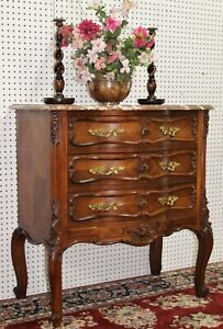 """Antique French Louis XV Walnut Marble Top Chest Commode c1870 36"""" tall x""""33""""wide"""