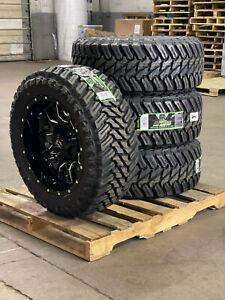 """20x10 Fuel D627 Vandal Black Wheels Rim 33"""" MT Tires 8x6.5 Dodge Ram 2500 3500"""