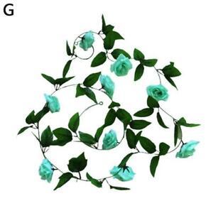 2X 8Ft Artificial Rose Garland Silk Flower Vine Ivy Wedding Garden String 2021