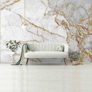 Vlies Fototapete Marmor gold grau Modern Steinoptik Steinwand Wohnzimmer XXL