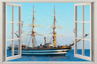 3D ship sea Beach Window View Removable Wall Art Stickers Vinyl Decal Home Decor